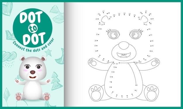 Collega il gioco per bambini a punti e la pagina da colorare con un'illustrazione del personaggio di un simpatico orso polare