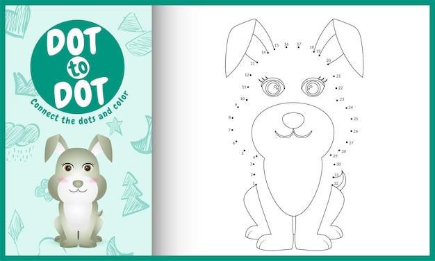 Collega il gioco per bambini a punti e la pagina da colorare con un'illustrazione di un simpatico coniglio