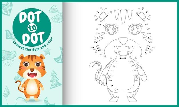 Collega il gioco e la pagina da colorare per bambini con una tigre carina