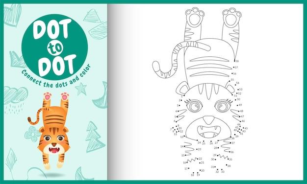 Collega il gioco per bambini a punti e la pagina da colorare con una tigre carina