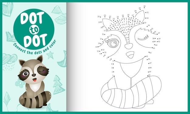 Collega il gioco per bambini a punti e la pagina da colorare con il personaggio di procione