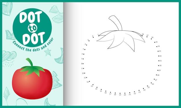 Collega il gioco per bambini a punti e la pagina da colorare con un'illustrazione di pomodoro