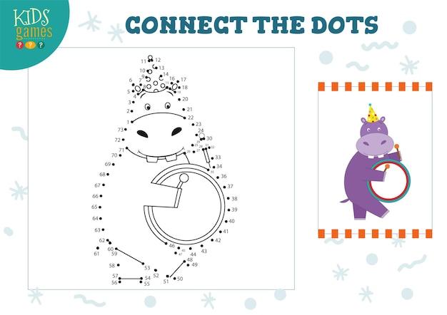 Collega l'illustrazione del gioco per bambini a punti.