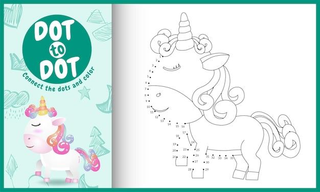 Collega il gioco per bambini a punti con un'illustrazione di un simpatico unicorno