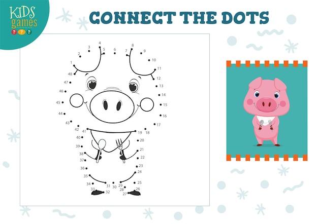 Mini gioco connect the dots kids. attività educativa per bambini in età prescolare con l'unione di punto per punto e il disegno di maiale divertente del fumetto con cucchiaio e forchetta