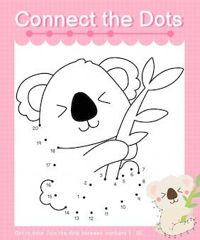Unisci i punti: koala - giochi punto per punto per i bambini che contano il numero 1-20