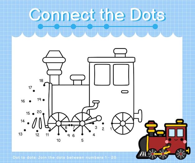 Collega la locomotiva a punti: giochi da punto a punto per bambini che contano il numero 1-20