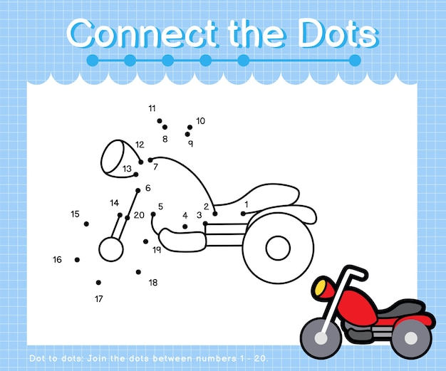 Collega la motocicletta a punti: giochi punto per punto per bambini che contano i numeri 1-20