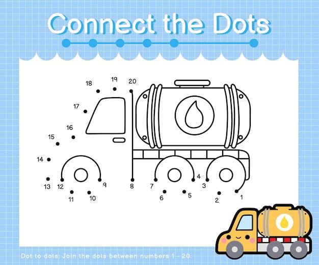 Collega il camion cisterna dell'olio a punti - giochi da punto a punto per bambini che contano il numero