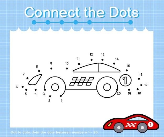 Collega l'auto da corsa a punti - giochi da punto a punto per bambini che contano il numero