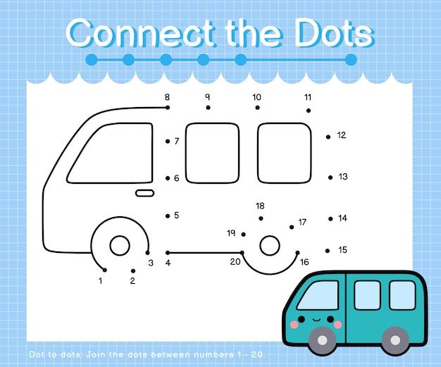 Connect the dots van - giochi da punto a punto per bambini che contano il numero