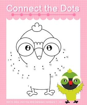 Collega i punti xantus bird dot to dot giochi per bambini che contano i numeri da 1 a 20