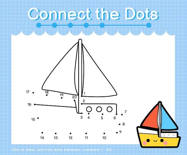 Collega lo yacht a punti - giochi da punto a punto per bambini che contano il numero