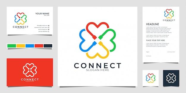 Collega il moderno logo e il biglietto da visita