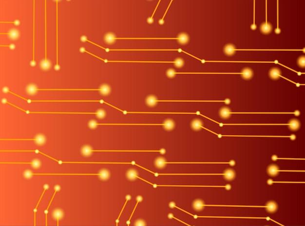 Tecnologia di connessione tecnologia futuristica di forme poligonali su sfondo rosso