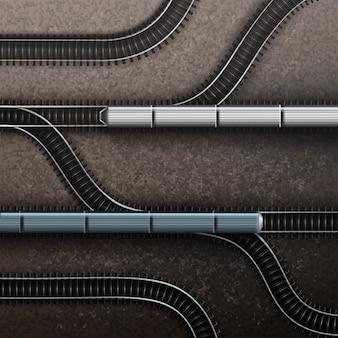 Collegamenti binari ferroviari con treni. vista dall'alto isolata