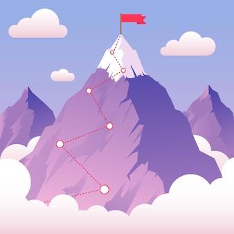 Conquistare montagne, paesaggio, sfondo per raggiungere l'obiettivo