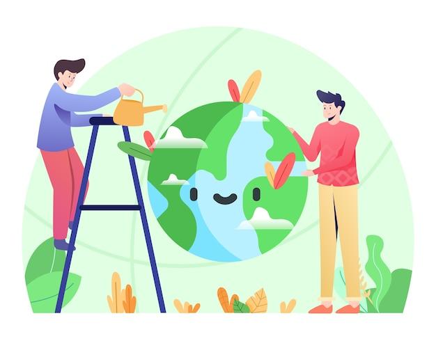 Illustrazione di conservazione, prendersi cura del pianeta.