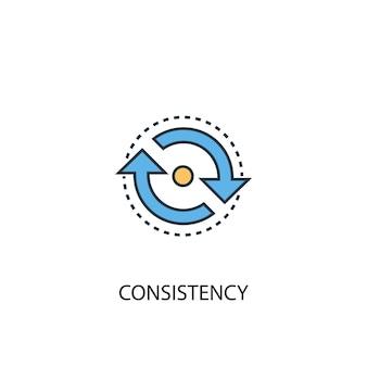 Concetto di coerenza 2 icona linea colorata. illustrazione semplice dell'elemento giallo e blu. design del simbolo del contorno del concetto di coerenza