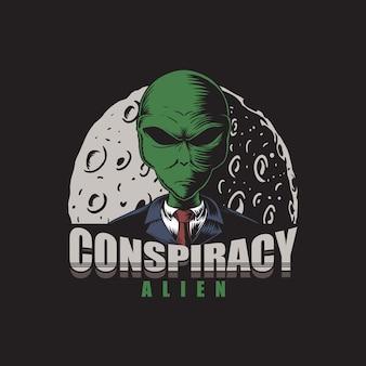 Illustrazione aliena cospirazione
