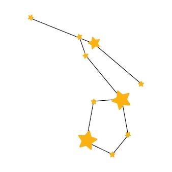 Illustrazione vettoriale disegnata a mano di costellazione per bambini con concetto di spazio