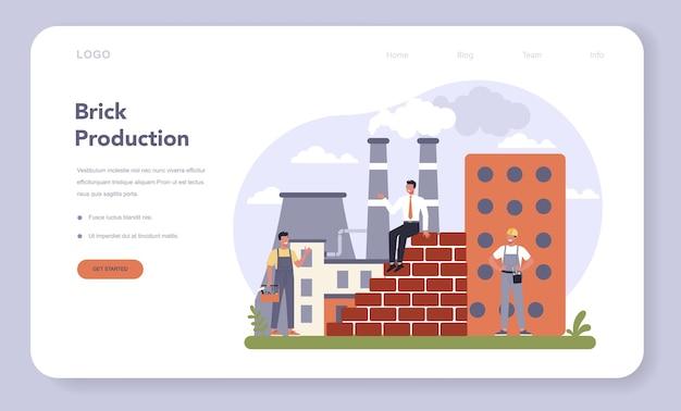 Costruire nel modello web o nella pagina di destinazione del settore della produzione di materiali.