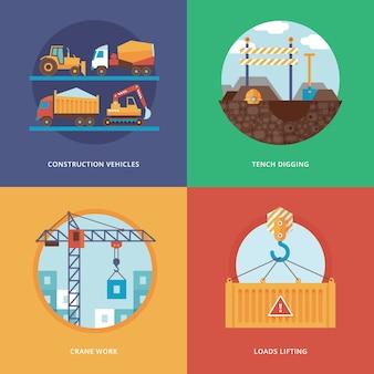 Costruzione, industria della costruzione e sviluppo di set per applicazioni web e mobili. illustrazione per veicoli da cantiere, scavo di tinche, lavori con gru e sollevamento di carichi.