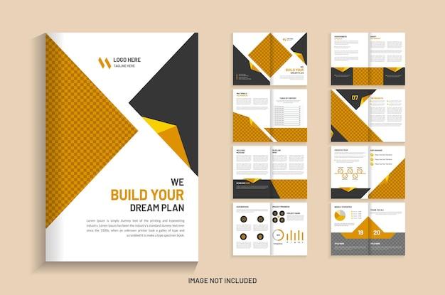 Modello di brochure aziendale di 16 pagine di costruzione
