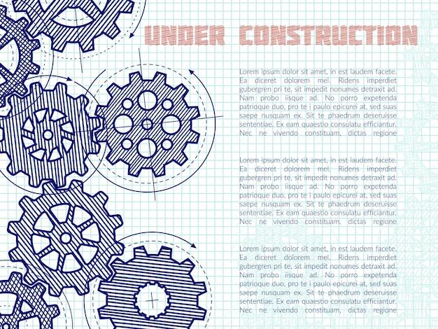 Fondo in costruzione con gli ingranaggi disegnati a mano sulla pagina del taccuino