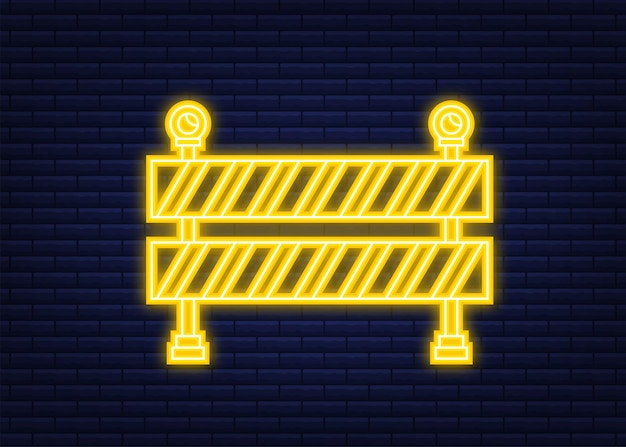 Barriera in costruzione. stile neon. recinzione del segno di lavori di costruzione o riparazione. illustrazione di riserva di vettore.