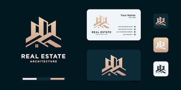 Costruzione, costruttore, edificio, colore oro, banner e biglietto da visita, modelli di progettazione del logo.
