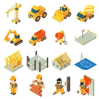 Set di icone di costruzione di edifici. un'illustrazione isometrica di 16 icone di vettore della costruzione della costruzione per il web
