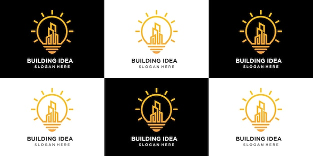 Insieme di logo di idee di costruzione di costruzione