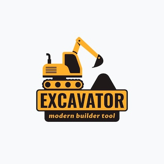 Modello di logo dell'escavatore di società di costruzioni