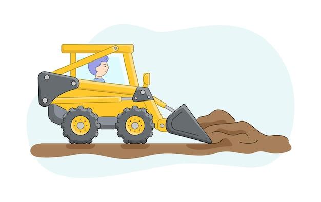 Concetto di costruzione. costruzione di camion con autista. il bulldozer rastrella la sabbia o la terra. lavori di operatore di macchine edili. carattere al lavoro.