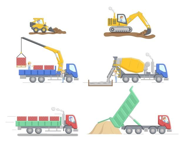 Concetto di costruzione. set di diversi truks edilizia e attrezzature per differenti lavori. lavori di operatore di macchine edili. personaggi al lavoro. illustrazione piana di vettore del profilo lineare del fumetto.
