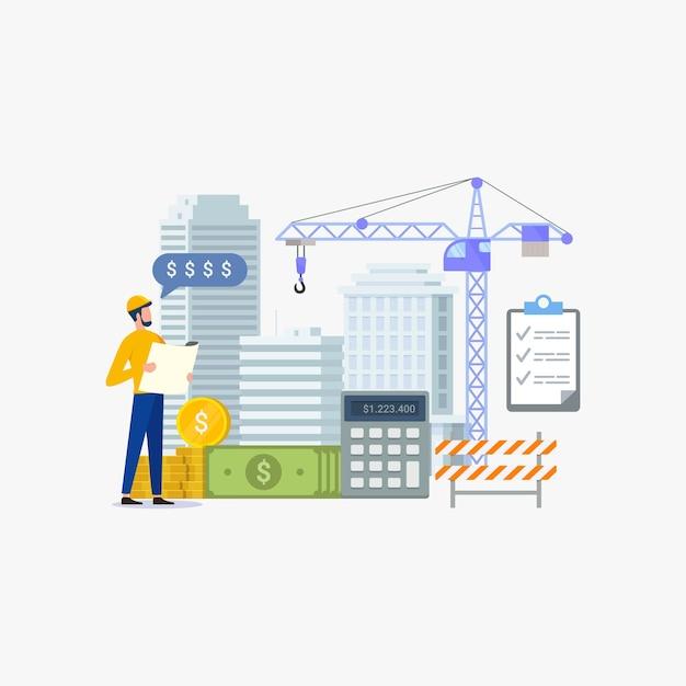 Costo di costruzione per il concetto di progetto di sviluppo edilizio