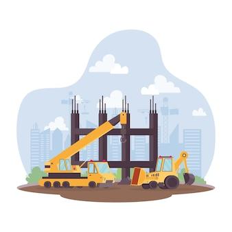 Gru da cantiere e veicolo escavatore nella progettazione dell'illustrazione di vettore di scena del posto di lavoro