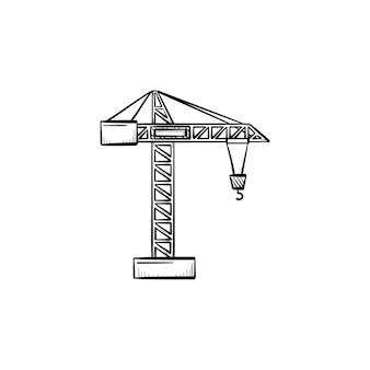 Icona di doodle di contorni disegnati a mano di gru di costruzione. illustrazione di schizzo di vettore di industria pesante con gru da cantiere per stampa, web, mobile e infografica isolato su priorità bassa bianca.