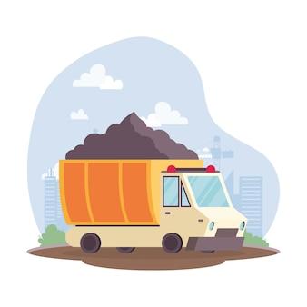 Discarica di costruzione con veicolo di sabbia nella progettazione dell'illustrazione di vettore di scena del posto di lavoro