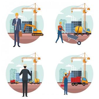 Fumetto di ingegnere edile