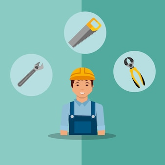 Operaio capo costruzione sega strumenti chiave e pinze