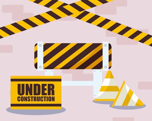 Etichetta in costruzione con coni