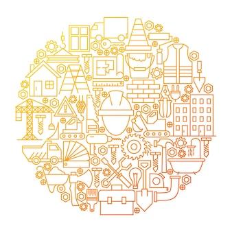 Disegno del cerchio dell'icona della linea di costruzione. illustrazione vettoriale di oggetti di attrezzature da costruzione.
