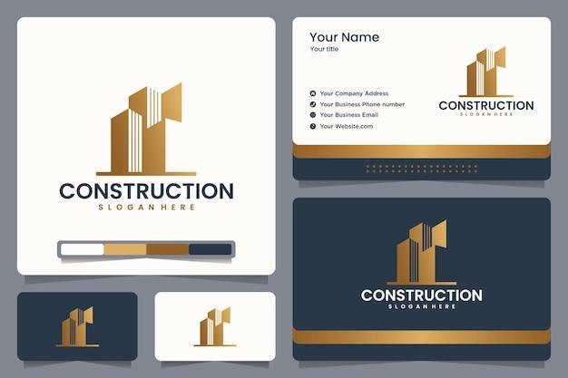 Design del logo di costruzione e biglietto da visita