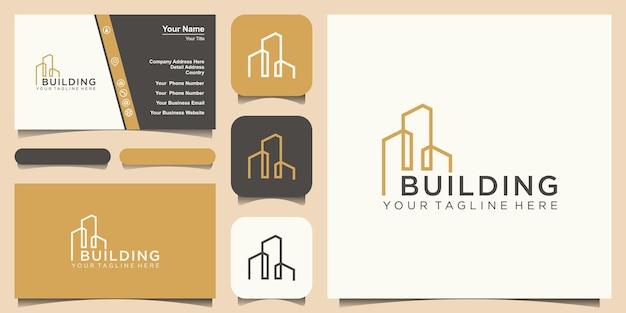 Progettazione del logo di costruzione. città edificio astratto per logo design