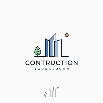 Ispirazione per il design del logo di costruzione, line art, contorno, semplice, minimalista premium