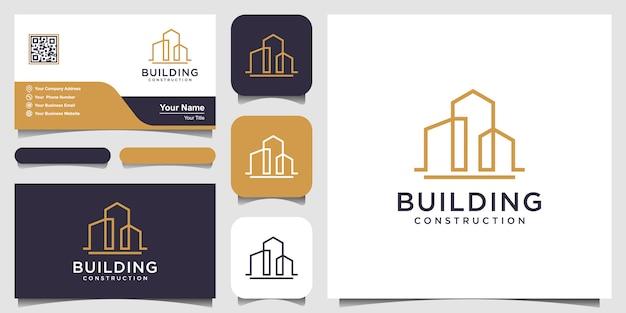 Design del logo di costruzione con stile art line.