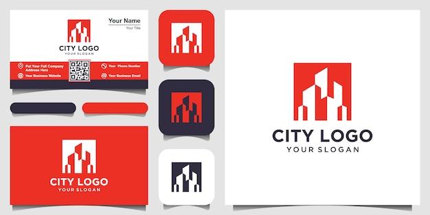 Design del logo di costruzione con il concetto di spazio negativo.