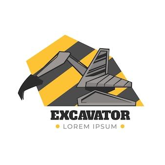 Modello di escavatore logo di costruzione
